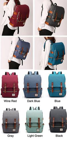 Which color do you like? Vintage Canvas Travel Backpack Leisure Backpack&Schoolbag #vintage #school #Bag #backpack #college #travel