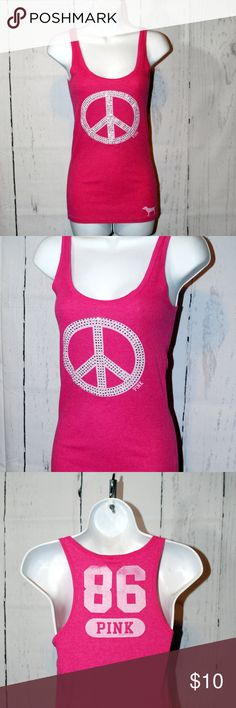 Victoria's Secret hot Pink bling peace racerback Victoria's Secret hot Pink bling peace racerback tank excellent clean condition smoke free home all jewels are present on the tank racerback style PINK Victoria's Secret Tops Tank Tops