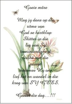 Good morning Morning Blessings, Good Morning Wishes, Good Morning Quotes, Lekker Dag, Evening Greetings, Goeie Nag, Goeie More, Afrikaans Quotes, Morning Inspirational Quotes