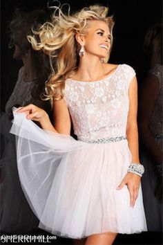 love this white lace dress with bling belt for a rehearsal dinner
