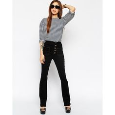 344acdde2f625d ASOS 70's High Waist Flares with Button up and Patch Pockets (633.415 IDR) ❤