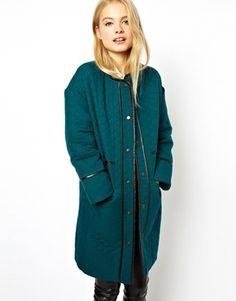 €138, Abrigo Verde Azulado de Asos. De Asos. Detalles: https://lookastic.com/women/shop_items/85835/redirect