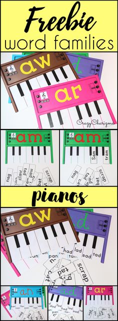 Free word families practice: build your pianos and practice word families with your kids! Perfect for literacy center ideas and great reading strategies! CrazyCharizma @ https://www.teacherspayteachers.com/Store/Crazycharizma