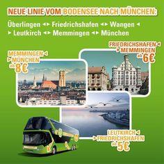 Neu ab Oktober: Mit MeinFernbus von München über Memmingen und Leutkirch an den Bodensee nach Friedrichshafen und Überlingen! Die Linie startet am 23.10.14