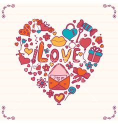 Heart shape doodles vector by saenal78 on VectorStock®