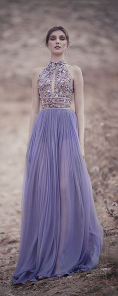 """Rami Kadi """"Zephyr"""", F/W 2017-2018 - Couture - http://www.orientpalms.com/Rami-Kadi-6980 - Lavender Mousseline Draped Gown With Plunging Keyhole Top Hand Appliquéd With Pearls, Sequins And Swarovski Crystals"""
