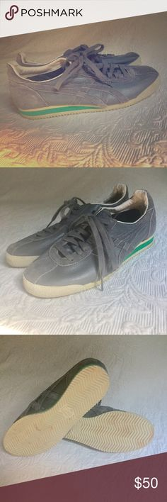 Sweet grey & green Onitsuka Tiger tennis shoes Sweet stylin shoes- grey with a strip of green. Have. Even worn a few times but it GREAT condition! Men's siize 6/ euro size 39 I'm a size 9 in woman's, and can wear these but my toe is right at the end of the shoe. Might be better for a women's size 8.5... Onitsuka Tiger Shoes Sneakers