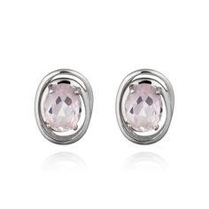Brinco de Prata 925 e 2 Quartzo Rosa - Coleção Confete Prata