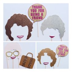 The Golden Girls Photo Booth Props ; Retirement Party ; Blanche ; Sophie ; Rose ; 80s Photo Booth Props ; 90s Photo Booth Props by Lets Get Decorative on Etsy