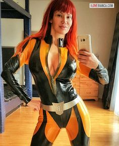 "biancabeauchamp: "" Can I be your super hero? 👓 www.ilovebianca.com #ilovebianca #biancabeauchamp #redhead #latex #fetish #superhero #silkspectre (at Montreal, Quebec) "" Super Bianca … ?? Why not :) Bianca Beauchamp in latex more at..."