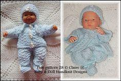 FREE Two cosy pram sets inch boys- Knitting Dolls Clothes, Knitted Baby Clothes, Baby Doll Clothes, Crochet Doll Clothes, Knitted Dolls, Doll Clothes Patterns, Crochet Dolls, Doll Patterns, Baby Dolls