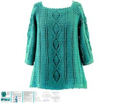 Crochet pullover PATTERN with pineapple от crochetCHARTpatterns