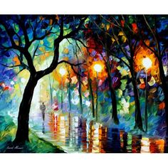 DARK NIGHT - PALETTE KNIFE Oil Painting on Canvas by Leonid Afremov ~ 319.00