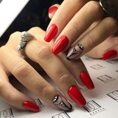 Nail art Christmas - the festive spirit on the nails. Over 70 creative ideas and tutorials - My Nails Black Nail Designs, Nail Art Designs, Design Art, Black Nails, Red Nails, Artificial Nails, Nail Decorations, Square Nails, Nagel Gel