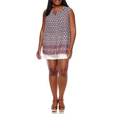 4c68188cb05 Liz Claiborne® Sleeveless Button-Front Blouse or Roll-Cuff Shorts - Plus -  JCPenney