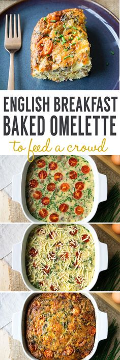 English Breakfast Baked Omelette - A breakfast recipe to feed a crowd! Make the recipe the night before. In the morning, assemble it and pop in the oven! Filled with eggs, bacon, sausages, mushrooms, tomatoes and cheese. Recipe from www.theworktop.com. #omelette #breakfastrecipes #brunch #feedacrowd