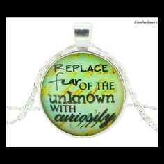"""NEW - """"REPLACE FEAR OF THE UNKNOWN WITH CURIOSITY"""" GLASS OPTIC PENDANT NECKLACE #Handmade #Pendant"""