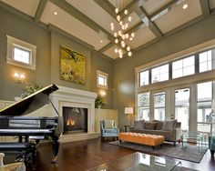 Living Room Olive Green Walls Design, Pictures, Remodel, Decor and Ideas - page 2