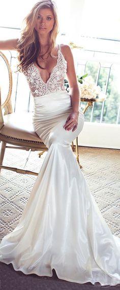 Mermaid Wedding Dresses : Graceful Stretch Satin Spaghetti Straps Neckline Mermaid Wedding Dresses With Be
