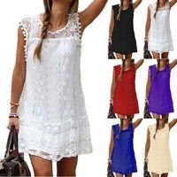 Wish | New summer fashion women Dress Sexy Sleeveless Hollow lace Dress Mini Dress beach dress vest dress vestidos femininos