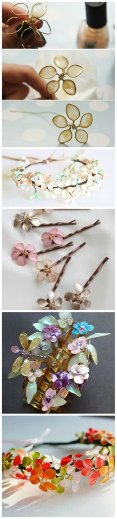 Nail Polish + Wire = Flower Jewelry! Use glue first, to span the gap in the petals. Once dry, cover with nail polish.