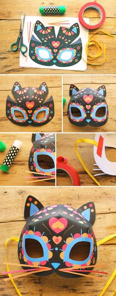 Free Dia de los Muertos - Day of the Dead DIY calavera cat mask template… Cat Crafts, Halloween Crafts, Crafts For Kids, Paper Crafts, Day Of The Dead Party, Day Of The Dead Mask, Sugar Skull Cat, Mask Template, Cat Mask