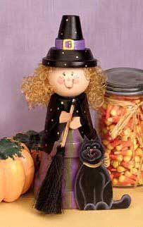Cute idea for a saucer with small pot on top for hat and I like the added cape effect for the clay pot witch.