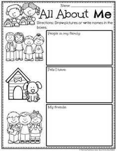 Looking for fun All About Me Activities for kids? Check out these 16 Hands-On All About me Learning Activities and Crafts for Preschool or Kindergarten. Preschool Family Theme, All About Me Preschool Theme, All About Me Activities, Preschool Worksheets, Preschool Learning, Kindergarten Activities, Preschool Activities, Vocabulary Activities, My Family Worksheet
