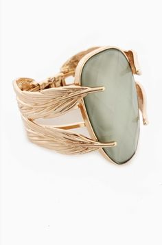 LoveMelrose.com From Harry & Molly | Hinged Gold Tone Metal Leaf & Lg Faceted Mint Green Acrylic Stone Cuff Bracelet