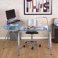 Have to have it. Calico Designs Jameson LS Computer Work Center - Silver/Blue Glass - $163.62 @hayneedle