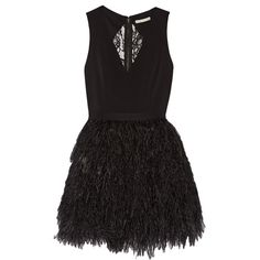 Alice + Olivia Kiara feather-embellished crepe mini dress ($590) ❤ liked on Polyvore featuring dresses, black, embellished cocktail dress, feather cocktail dress, lace back dress, short fitted dresses and embellished mini dress