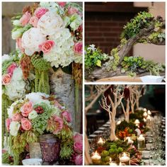 Rustic Wedding Centerpieces Idea. Pink and white flowers. Tree centerpieces or using branches/ driftwood with moss.