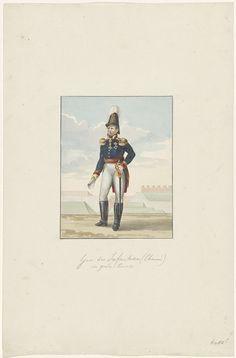 Anonymous | Generaal der infanterie, Anonymous, 1830 - 1831 | Uniform van de generaal der infanterie in gala tenue. Hier generaal Chassé met een opgerolde kaart van Antwerpen in de hand. Onderdeel van een serie van zes tekeningen van uniformen van het Nederlandse leger ca. 1830.