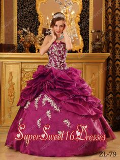15th Birthday Party Dresses in Dark Purple with Appliques and Ruffles