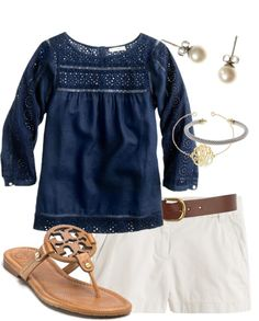 """Blue Eyelet Top"" by thevirginiaprep ❤ liked on Polyvore"