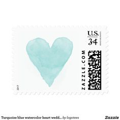 Turquoise blue watercolor heart wedding stamps Teal / turquoise blue watercolor heart love and thanks wedding stamps. Cute print for summer beach wedding or rustic country chic bridal party. Faded weathered look water color design. Grungy symbol for elegant thank you postcards from newly weds couple. Available in 34 49 70 91 98 1.12 cent stamps. Add your own stylish script typography. Other beautiful pastel colors available. Customizable background color to match your theme. Can also be used…