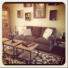 Living room, family room, couch, coffee table, soda crate