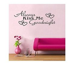 WOW!STickeRs Black Always Kiss Me Goodnight Wall Decal Sticker Home Art Vinyl Removable Decor * Review more details here : home diy improvement