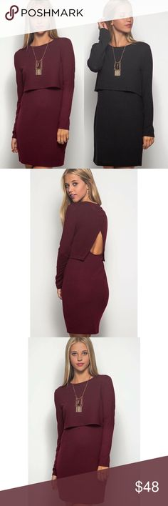 Long Sleeve Triangle Back Dress This sexy triangle back dress is perfect for fall  Available in burgundy and charcoal/black  Dresses