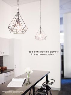 faceted pendant | redinfred.com taking the outlines of a precious gem + translating them into a chic, almost gossamer geometric, metal form, the faceted pendant adds both elegance + an industrial edge to any space it occupies.  #chic modern light fixtures