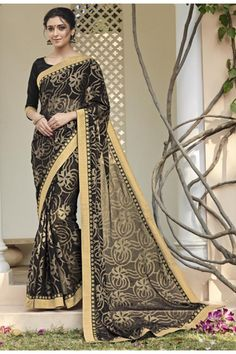 Festival Wear Black Saree  - VIPUL-30414