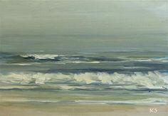 Veiled Ocean - 5x7 Original beach ocean wave oil painting by Kerri Settle