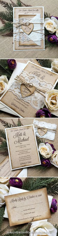 Burlap and Lace Wedding Invitation with Twine and Kraft Heart Tag