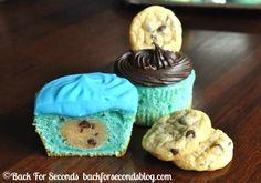 Cookie Dough Stuffed Monster Cupcakes http://backforsecondsblog.com #cupcakes  #cookiedough