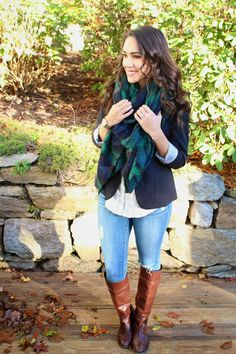 Blazer + Plaid button down + Blanket Scarf + Riding Boots = Perfect Fall outfit!