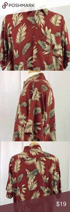 Roundtree & Yorke Caribbean Men's Hawaiian Shirt. This is a very nice condition Roundtree & Yorke Caribbean Men's Hawaiian Shirt. Size XL. Made of 70% Silk and 30% cotton. Color is Burgundy and green plant leafs. Roundtree & Yorke Shirts Casual Button Down Shirts