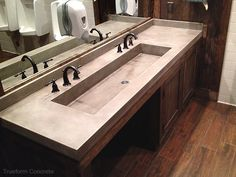 ADA Design idea - Concrete bathroom sink by Trueform Concrete Trough Sink Bathroom, Ada Bathroom, Vanity Sink, Small Bathroom, Master Bathroom, Bathroom Vanities, Concrete Sink, Concrete Bathroom, Concrete Countertops