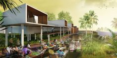 Floating Market - Bangkachao Hotel #architecture #portfolio Hotel Architecture, Architecture Portfolio, Asian Market, Spaces, Marketing, Landscape, Outdoor Decor, Home Decor, Scenery
