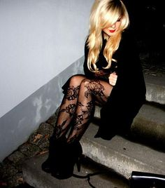 something about this pic..... black floral lace tights, shiny blonde hair, black booties