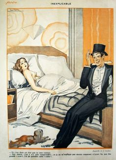 Leclerc for Le Sourire, 1931…I've been both figures in this picture at various times. Love the Art Deco decor!